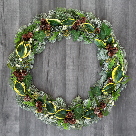 Winter and Christmas natural wreath with snow covered spruce pine fir, mistletoe, pine cones, cedar and ivy leaves on rustic grey wood  background. Stock Photo