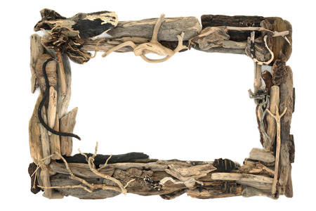 Rustic driftwood frame forming a background border on white with copy space.