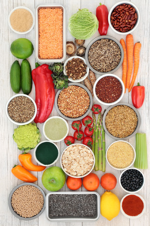 Liver detox diet health food concept with fruit, vegetables, herbal medicine, legumes, seeds, grains, cereals and supplement powders. High in antioxidants, omega 3, vitamins &  dietary fibre. Top view.