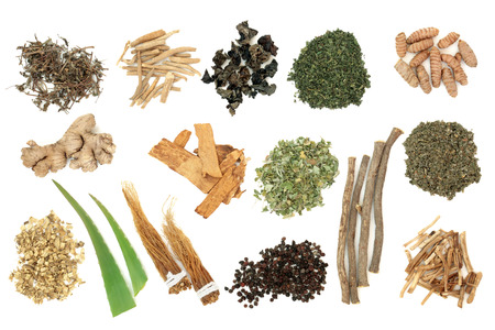 Adaptogen herb and spice selection on white