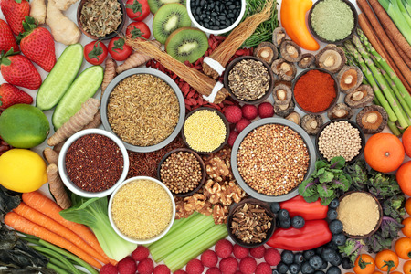 Liver detox super food with fruit, vegetables, herbs, spices, legumes, grains, seeds, herbal medicine and supplement powders. Health foods high in antioxidants, vitamins &  dietary fibre. Top view. Stock Photo
