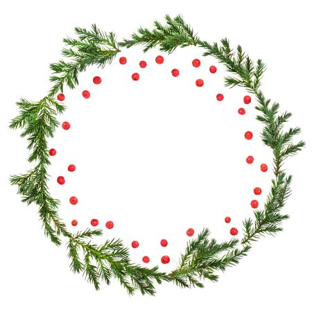 Winter and Christmas juniper fir wreath with loose red holly berries on white background with copy space. Traditional symbol for the festive season. Juniperis chinensis. Stockfoto