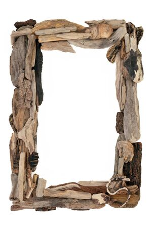 Driftwood abstract border on white with copy space.