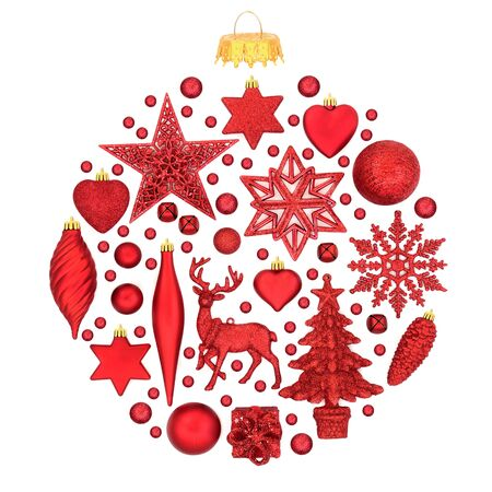 Red Christmas tree decorations forming an abstract bauble ornament on white