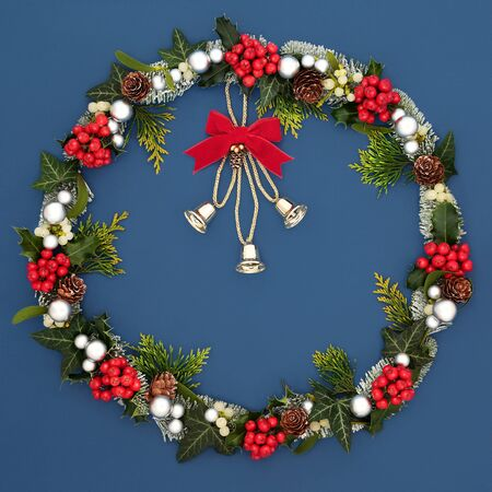 Christmas wreath decoration with bells