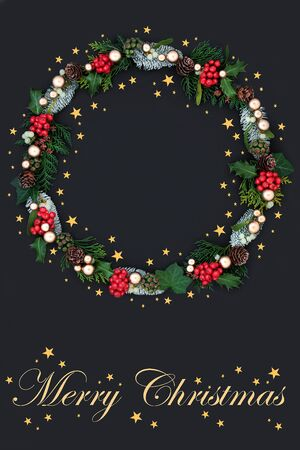 Festive Merry Christmas wreath with gold stars Stock Photo