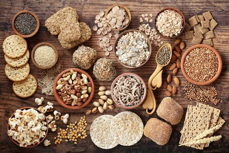 High fibre health food concept with super foods high in antioxidants, omega 3, vitamins and protein with low gi. Helps to lower blood pressure & cholesterol & optimise a healthy heart. Top view. Stok Fotoğraf