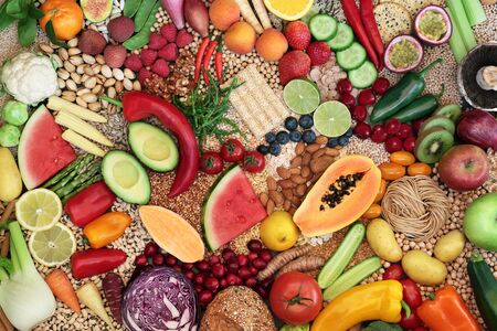 Large vegan health food collection with foods high in protein, vitamins, minerals, anthocyanins,  antioxidants, fibre, omega 3 and smart carbs. Ethical eating for a healthy planet concept. Flat lay.
