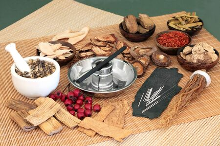 Traditional Chinese herbs used in herbal medicine with acupuncture needles and moxa stick used in moxibustion therapy on bamboo mats and green background.