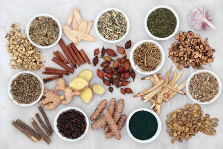 Asthma and respiratory relieving herbs, spice and supplement powder used in natural and chinese herbal medicine, loose and in porcelain bowls. Flat lay.