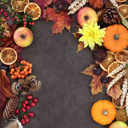 Autumn background border with food, flowers and leaves on lokta background. Harvest festival theme. Top view. Foto de archivo - 137891900