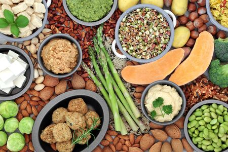 Vegan health food for ethical eating with quorn falafel balls, fruit, vegetables, nuts grains & seeds high in protein, vitamins, minerals, omega 3, antioxidants, smart carbs & fibre. Flat lay.