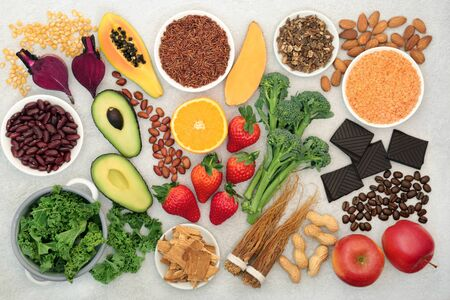 Health food for energy, vitality & fitness with vegetables, nuts, seeds, legumes, grains, chocolate, coffee & herbal medicine. High in vitamins, minerals antioxidants, smart carbs, protein & omega 3.