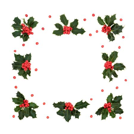 Winter, Christmas and New Year square abstract holly berry wreath with loose berries on white Stock Photo
