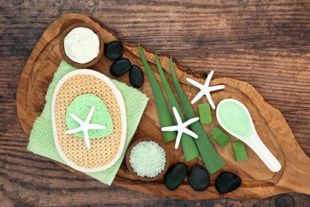 Aloe vera skincare beauty treatment with moisturising gel & cream  with spa and body care products. Soothes sunburn, has anti inflammatory properties, heals skin infections & wounds. Flat lay.