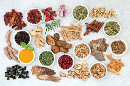 Super food collection for good health, vitality and fitness including herbs and spice used in natural and chinese herbal medicine. Flat lay.
