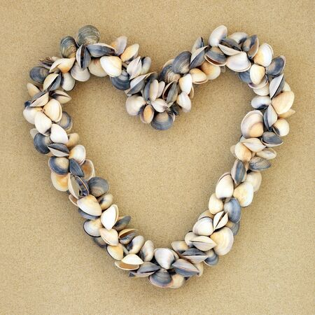 Heart shaped clam shell wreath on sand background. Romantic symbol and summer holiday concept.