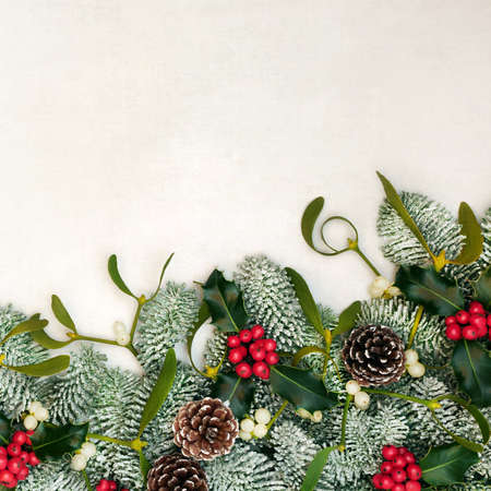 Winter solstice & Christmas border on parchment paper with snow covered fir, holly, mistletoe & pine cones. Traditional composition for Xmas & New Year holiday season. Top view, flat lay, copy space. Zdjęcie Seryjne
