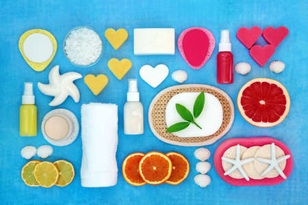 Skin care beauty treatment with citrus fruit and exfoliation, moisturising and spa cleansing products. Natural health concept. Flat lay.