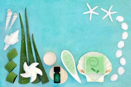 Aloe vera anti ageing skin care beauty treatment with cosmetic products on turquoise. Used as after sun for sunburn, as aftershave, has anti inflammatory properties & heals skin infections & wounds.