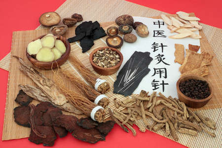 Chinese herb selection used as a tonic with acupuncture needles and calligraphy script on rice paper. Translation reads as Acupuncture needles used in traditional Chinese medicine.