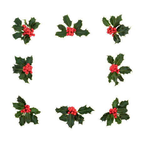 Natural winter, Christmas & New Year square holly berry wreath on white background. Abstract minimal xmas holiday theme & border for the festive season. Zdjęcie Seryjne