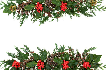 Christmas, winter & New Year natural background border with holly, ivy & cedar cypress leaves on white. Festive composition for the holiday season. Flat lay, top view, copy space.