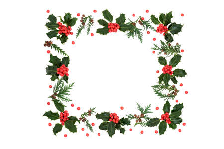 Winter, Christmas & New Year square holly berry & cedar leaf wreath with loose red berries on white background. Festive theme & border for the holiday season. Flat lay, top view, copy space. Zdjęcie Seryjne