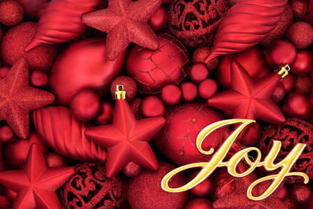 Christmas joy abstract background composition with gold sign & red bauble decorations.