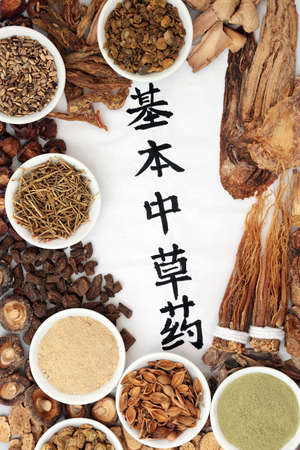 Chinese fundamental herbs regularly used in herbal medicine with calligraphy script on rice paper on grunge background. Translation reads as chinese fundamental herbs. Zdjęcie Seryjne