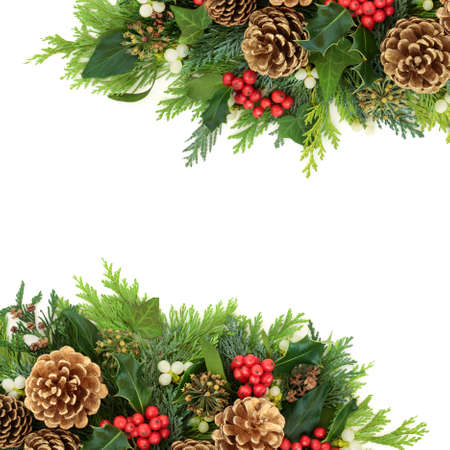 Christmas border with gold pine cones & winter greenery of holly, mistletoe, ivy & cedar cypress fir on white background. Xmas & New Year festive composition. Flat lay, top view, copy space.