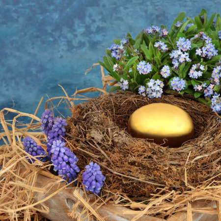 Golden nest egg for retirement concept with gold egg in a natural nest