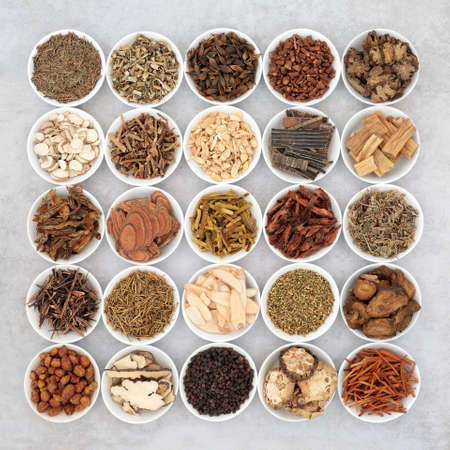 Chinese herb collection used in traditional herbal medicine in porcelain bowls on mottled grey background. Alternative health care concept. Flat lay, top view. Archivio Fotografico