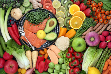 Health food for a healthy diet for fitness very high in nutritional values with protein, omega 3, antioxidants, anthocyanins, minerals, vitamins, dietary fibre, lycopene & smart carbs. Flat lay.