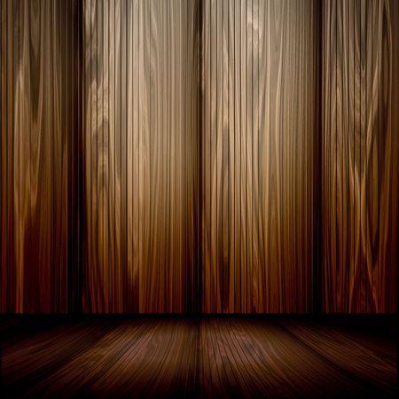 美しい木製の壁と床で部屋の 3 d のインテリア。