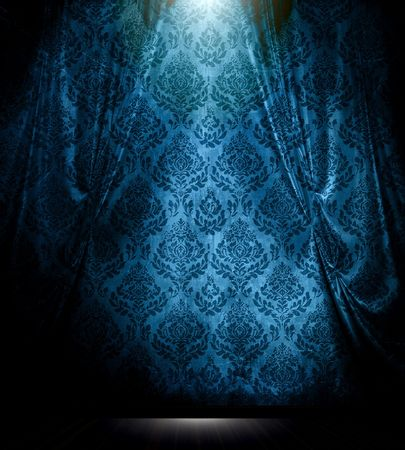 curtain design: Blue damasco modellata con drappeggio riflettori annata in camera interiore.