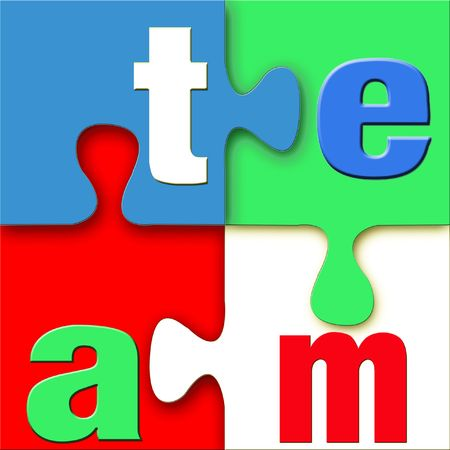 The word team spelled in letters on a colorful 3d puzzle in blue, green, red and white. Stock Photo - 5330659