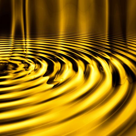 molten: Shiny, smooth metallic liquid gold ripples background. Stock Photo