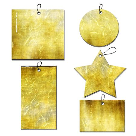 gold string: Grunge Tags Set Of Different Shapes