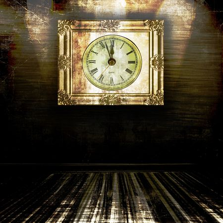 12 o'clock: Vintage Clock At Almost Midnight In A Grunge Room
