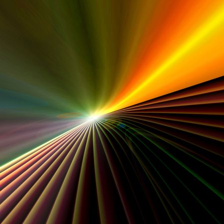 Background design abstract burst blur with colorful flashes of speeding lights into a bright cyberspace horizon. photo