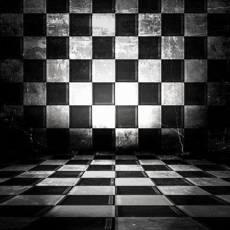 黒と白の格子縞不潔な部屋