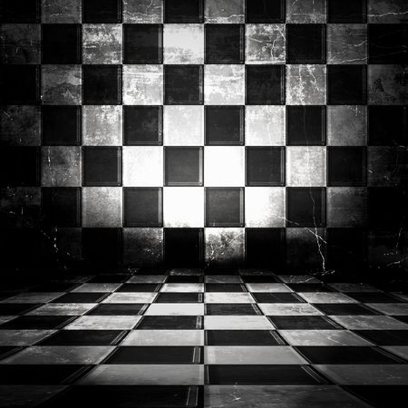 Black And White Checkered Grunge Kamer Stockfoto