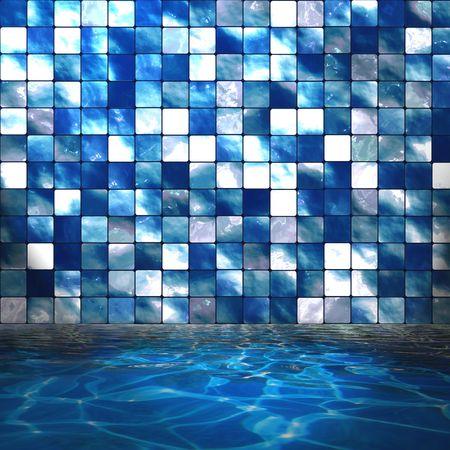 splash pool: Cristalinas agua de la piscina con pared de azulejos