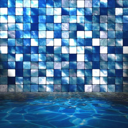 Sparkling blue swimming pool water with tile wall