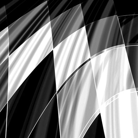chequered drapery: Checkered racing flag pattern abstract background in black and white Stock Photo