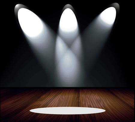 ray of light: Dramatic Spotlights On Stage  Stock Photo