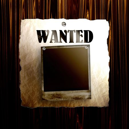 western wall: Old Wanted Poster On Wood With Blank Old Photo Frame