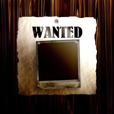 Oude gezochte poster aan hout met lege oude foto frame