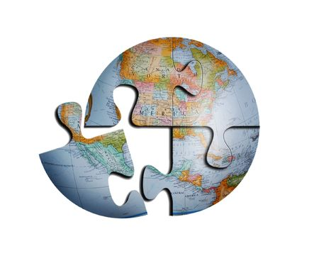 puzzle globe: Detailed Earth Puzzle, Source Is Photograph